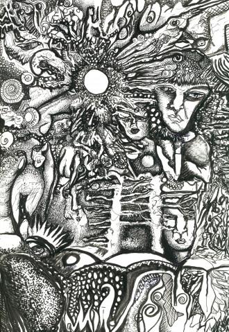 Complex black and white illustration