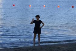 Camilla Brueton on a beach